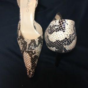 Aldo Snake Skin Print Shoes-Brown & Cream Heel